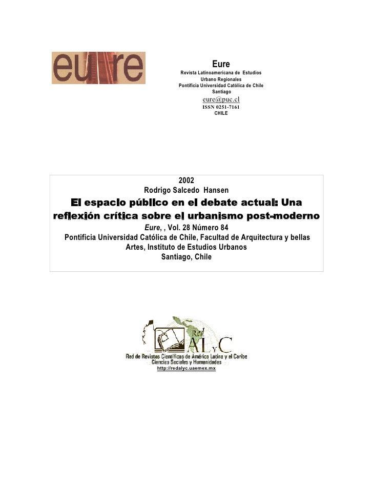 Eure                                       Revista Latinoamericana de Estudios                                            ...