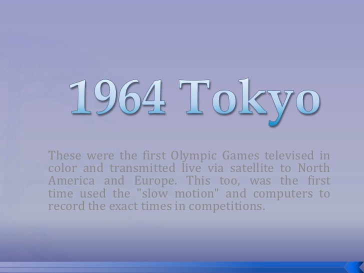 These were the first Olympic Games televised incolor and transmitted live via satellite to NorthAmerica and Europe. This t...
