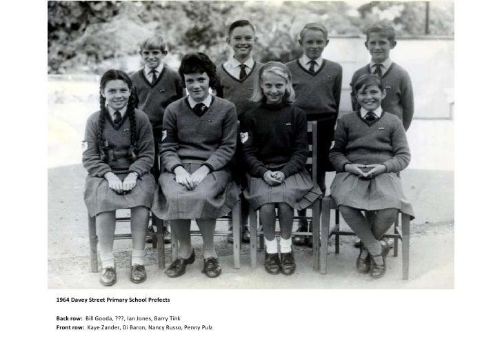 1964 Davey Street Primary School Prefects<br />Back row:  Bill Gooda, ???, Ian Jones, Barry Tink<br />Front row:  Kaye Zan...