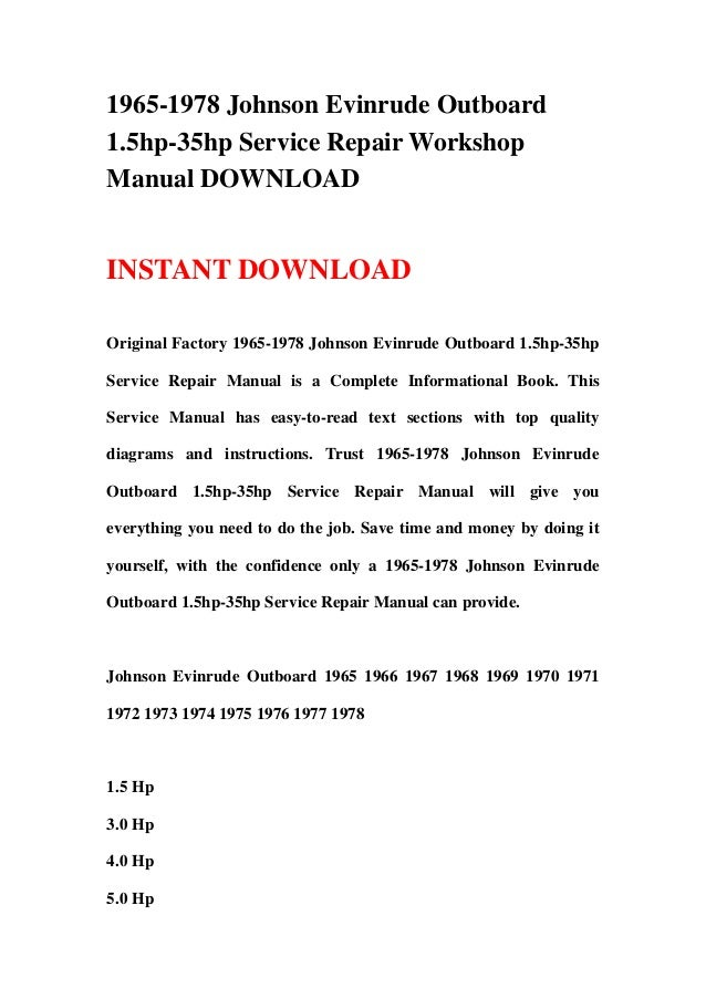 1965-1978 Johnson Evinrude Outboard 1 5hp-35hp Repair Manual