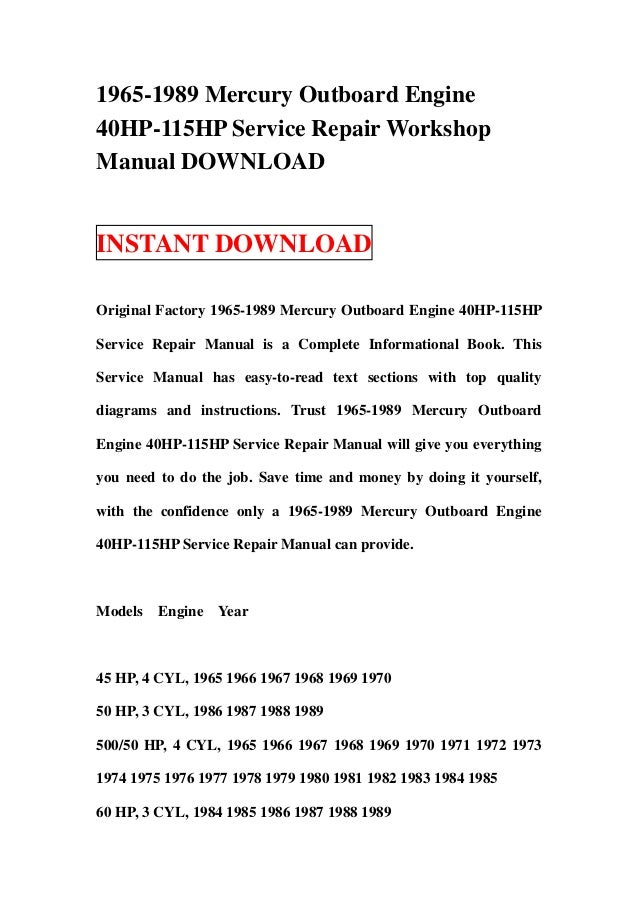 1965 1989 mercury outboard engine 40 hp-115hp service repair workshop manual  download