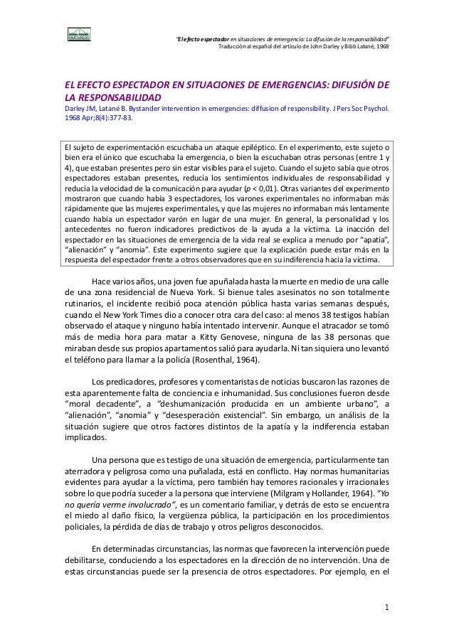 """""""El efecto espectador en situaciones de emergencia: La difusión de la responsabilidad"""" Traducción al español del artículo ..."""