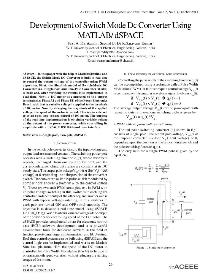 ACEEE Int. J. on Control System and Instrumentation, Vol. 02, No. 03, October 2011     Development of Switch Mode Dc Conve...