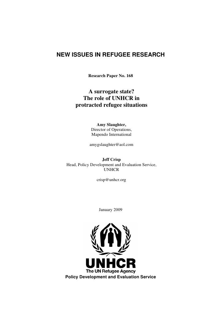 A surrogate state? The role of UNHCR in the protracted refugee situa…