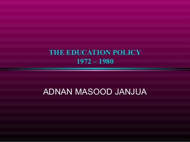 education policy of pakistan 1972 pdf