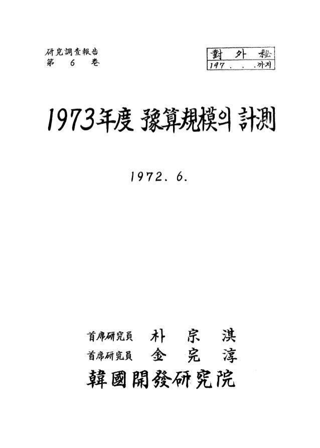 1973년도 예산규모의 계측
