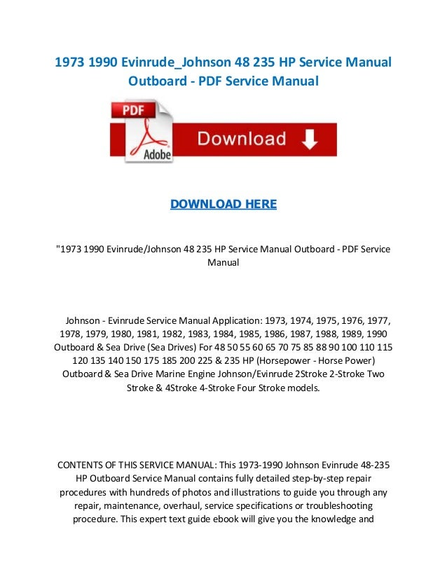 1973 1990 evinrude johnson 48 235 hp service manual outboard pdf se rh slideshare net 1977 evinrude 70 hp service manual 1979 evinrude 70 hp service manual