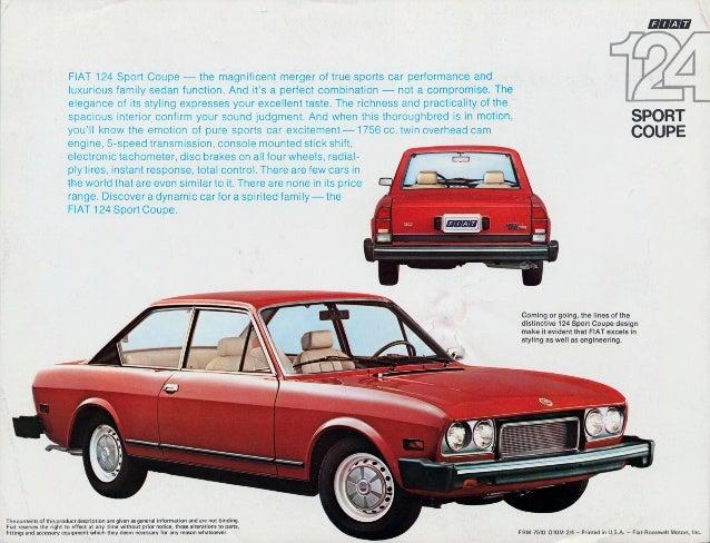 1974 Fiat 124 Sport Coupé brochure USA