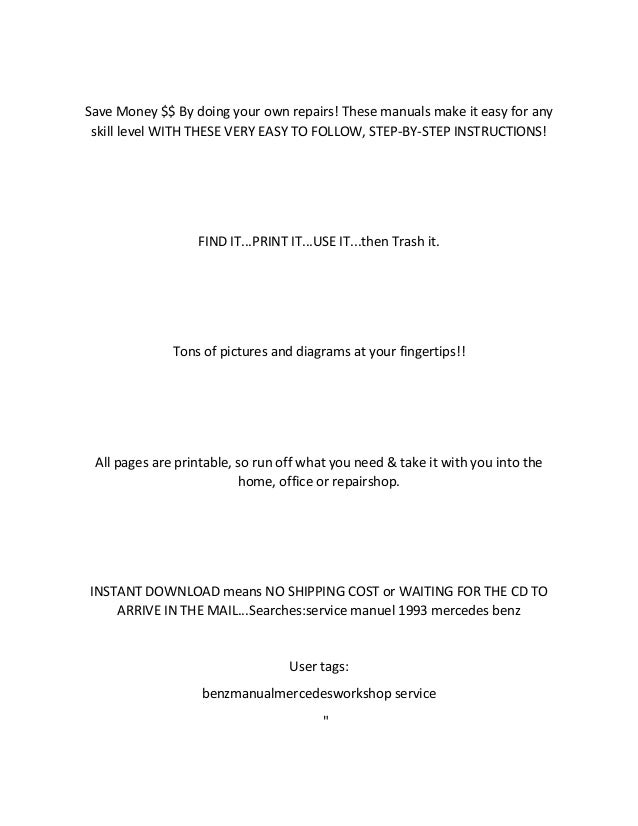 mercedes benz 230e workshop manual pdf