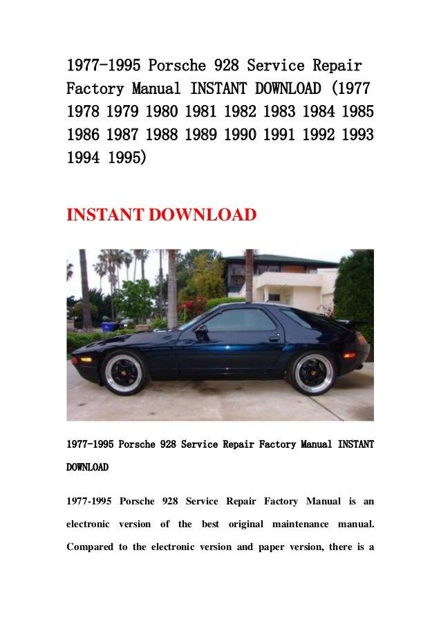 porsche 928 repair manual download