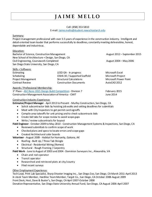 Luxury San Diego Civil Engineering Resume Composition - Best Resume ...