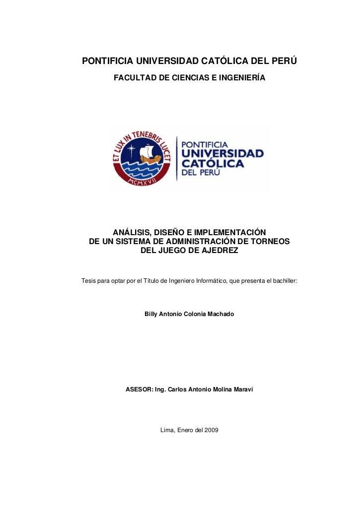 PONTIFICIA UNIVERSIDAD CATÓLICA DEL PERÚ            FACULTAD DE CIENCIAS E INGENIERÍA       ANÁLISIS, DISEÑO E IMPLEMENTAC...
