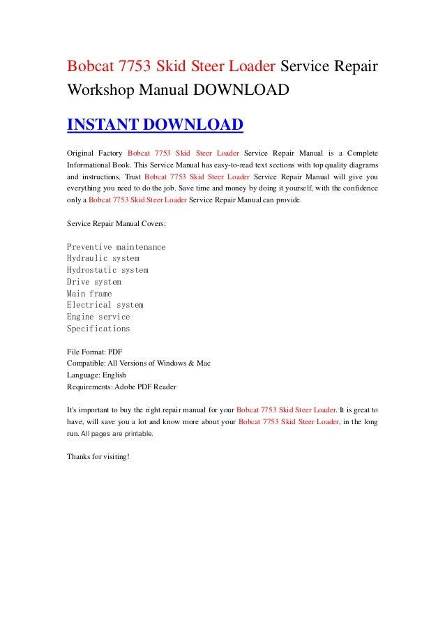 bobcat 7753 skid steer loader service repair workshop manual 1 638 jpg cb 1355622524 bobcat 7753 skid steer loader service repairworkshop manual instant original factory bobcat 7753 skid stee
