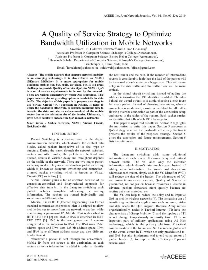 ACEEE Int. J. on Network Security, Vol. 01, No. 03, Dec 2010           A Quality of Service Strategy to Optimize          ...