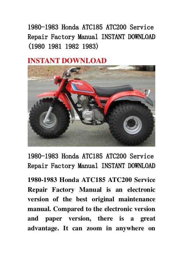 1980 1983 honda atc185 atc200 service repair factory manual instant d rh slideshare net 1983 honda atc 200 repair manual 1984 Honda ATC 200M Parts