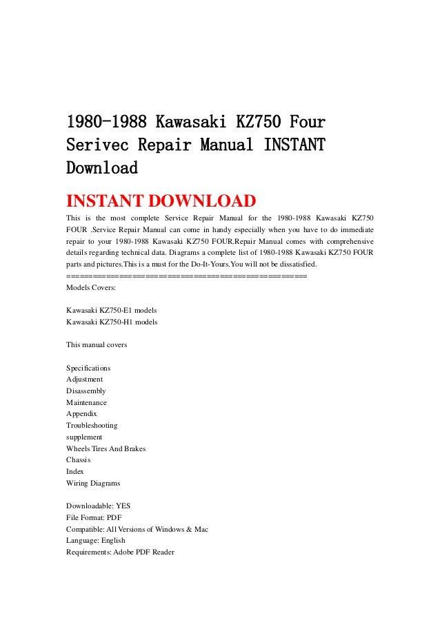 kz750 four wiring diagram 20 artatec automobile de \u2022 Kawasaki Ninja ZX-14 1980 1988 kawasaki kz750 four serivec repair manual instant download rh slideshare net kz1000 wiring