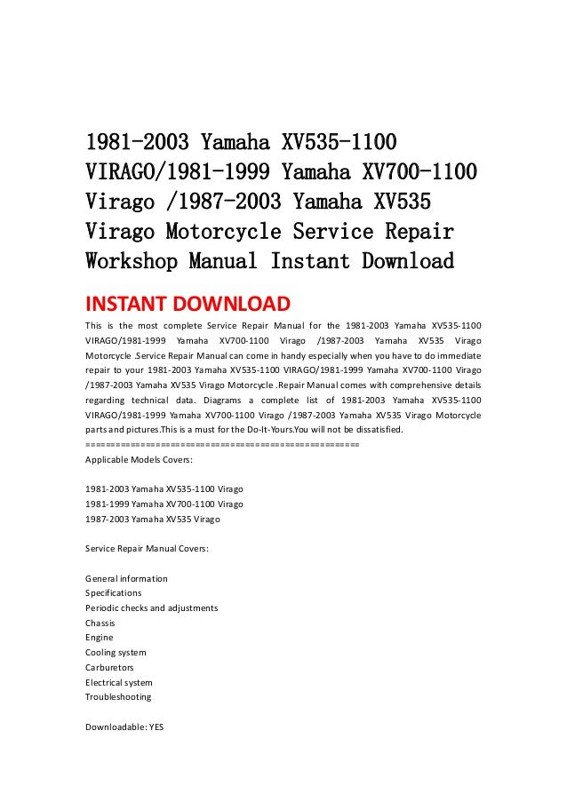 Yamaha xv535 service repair fix it manual, for motorcycle repair.