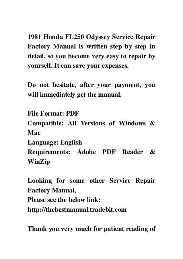 1981 Honda Fl250 Odyssey Service Repair Factory Manual
