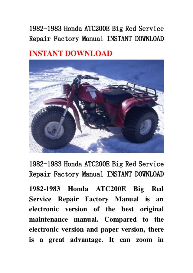 1982 1983 honda atc200 e big red service repair factory manual instan rh slideshare net honda factory service manual pdf honda civic factory manual