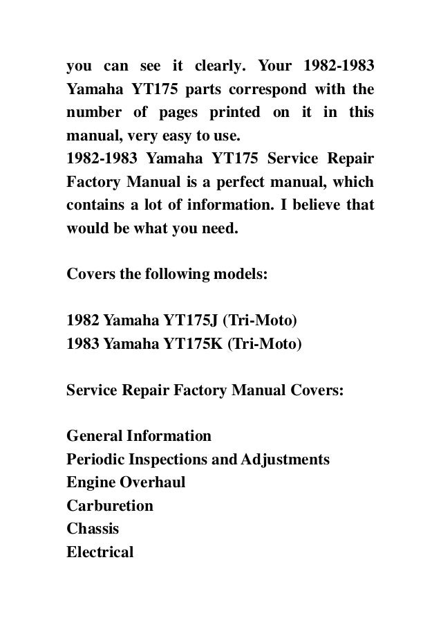 yamaha yt175 tri moto complete workshop repair manual 1982 1983