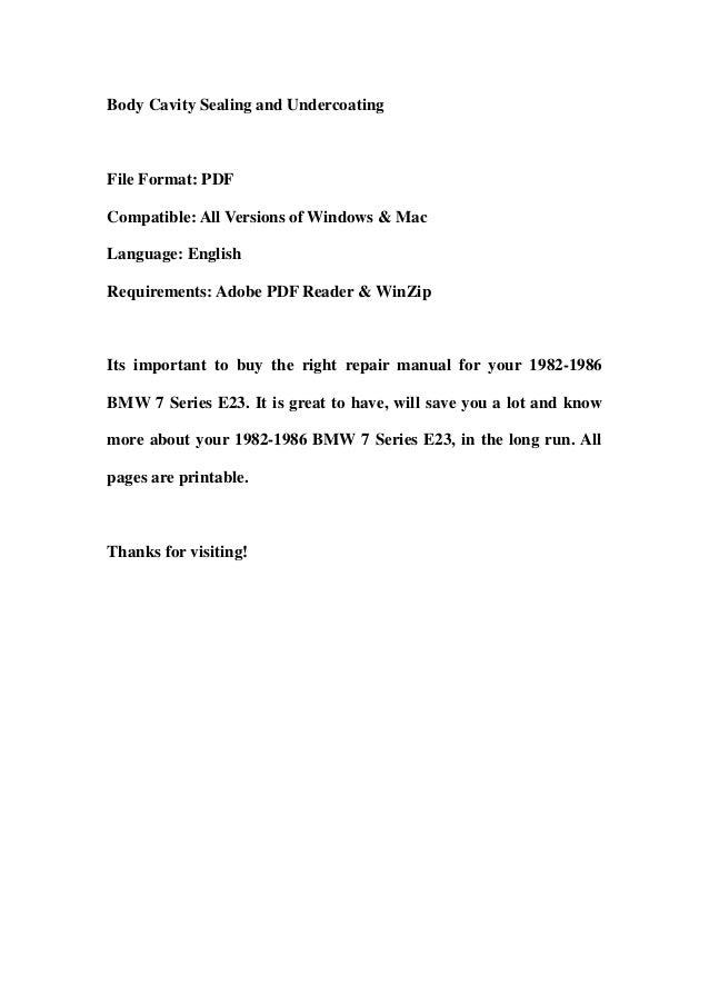 1982 1986 bmw 7 series e23 service repair manual download 1982 1983