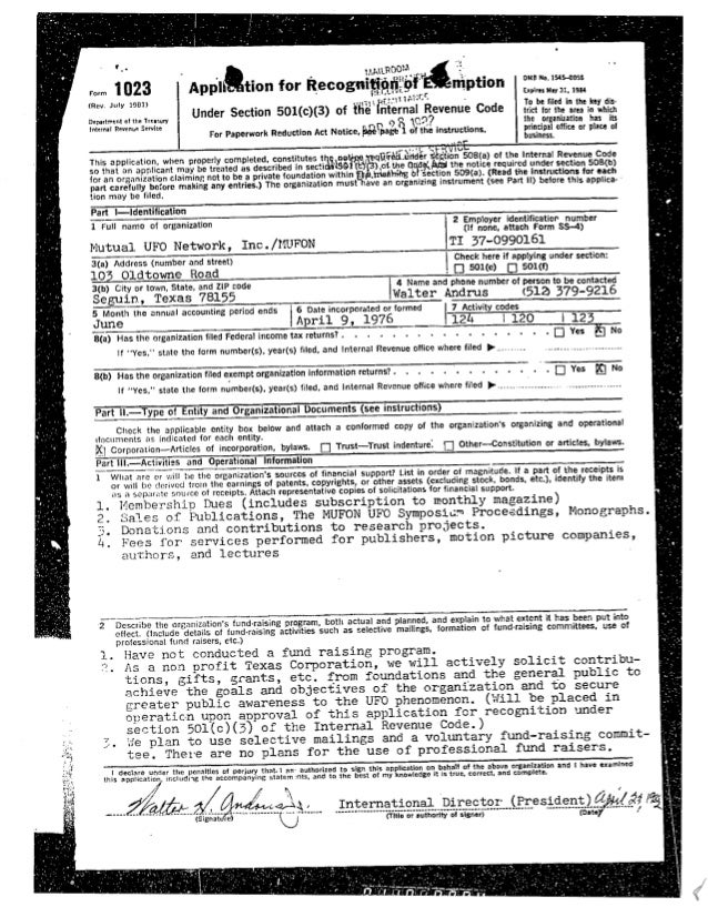 1982 Form 1023 application for non-profit status