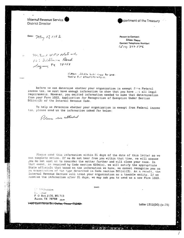 1982 Irs Form 4564 13 May 82 Irs Letter 24 June 82