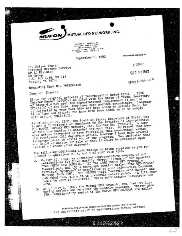 1982 mufon reply to irs 1 sept 82