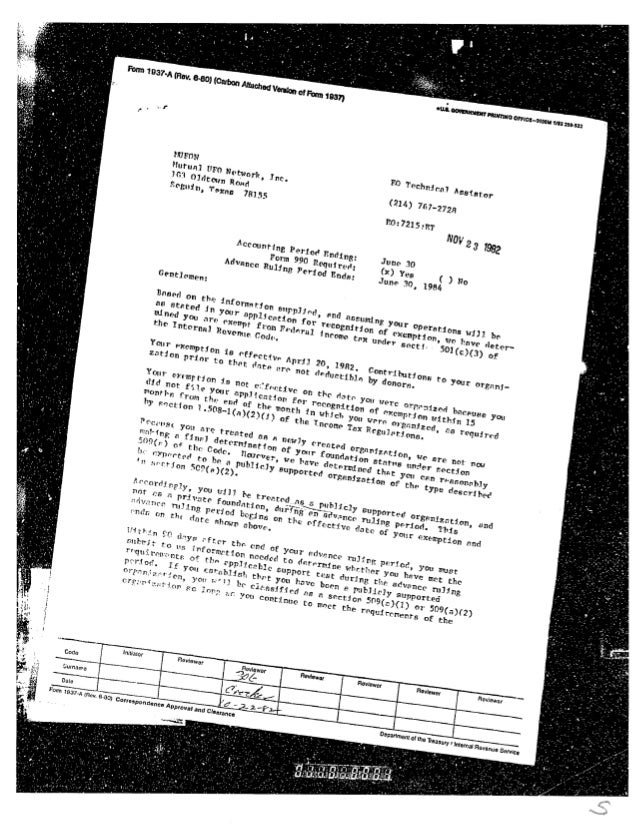1982 irs acceptance letter 22 oct 82