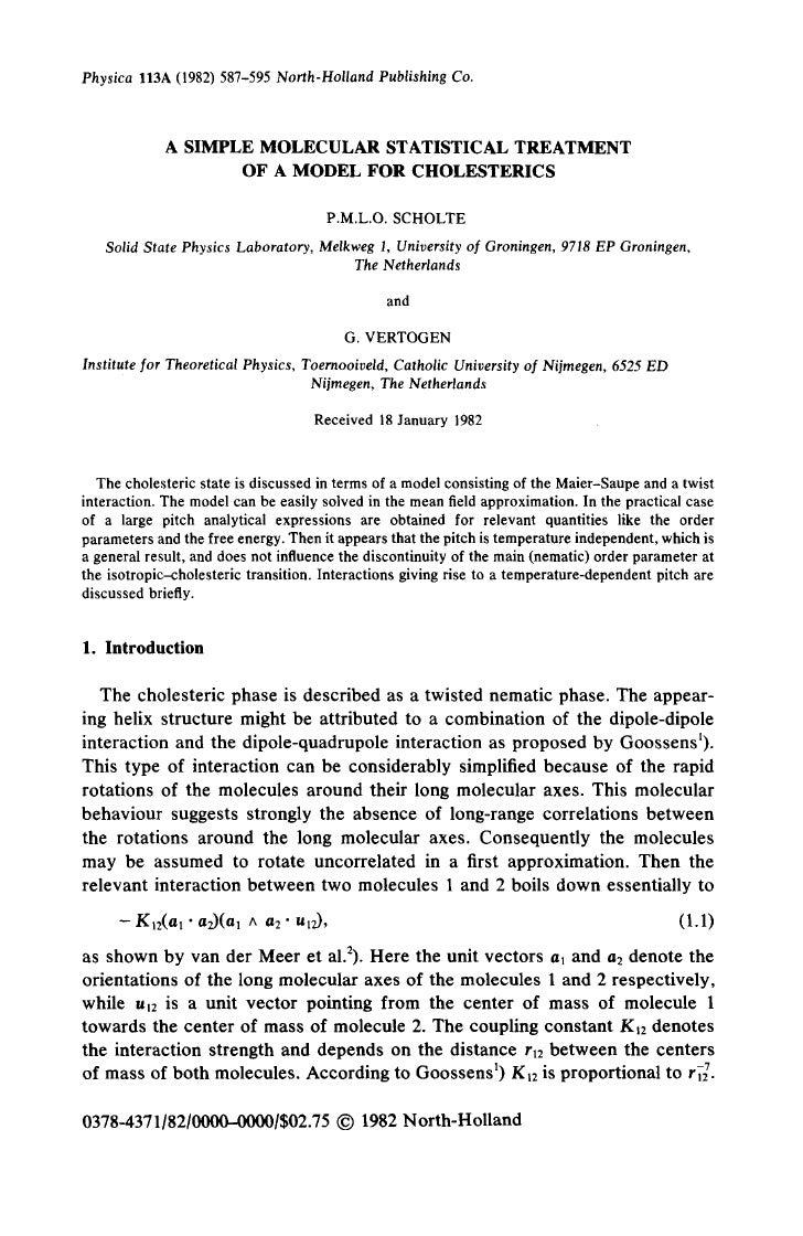 Physica l13A (1982) 587-595 North-Holland Publishing Co.                 A SIMPLE MOLECULAR STATISTICAL TREATMENT         ...