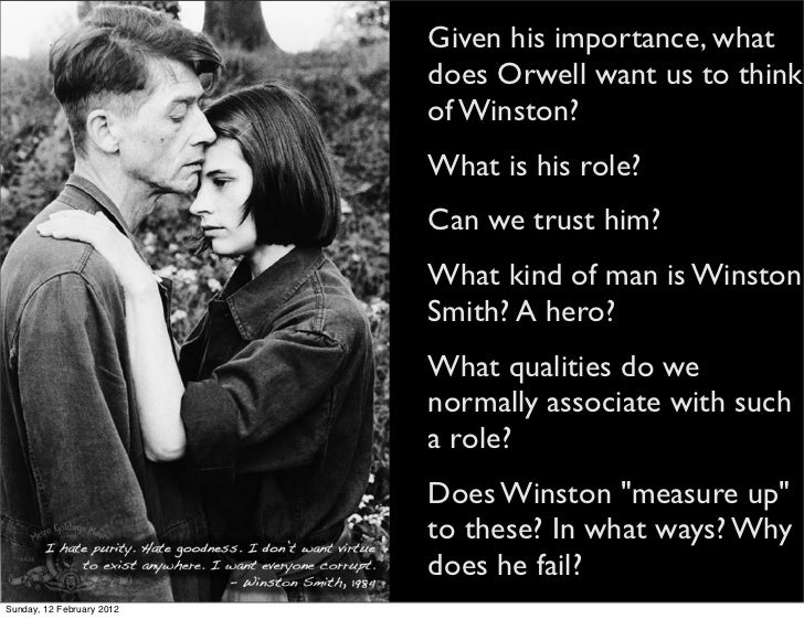 "an analysis of the character of winston smith in the novel 1984 by george orwell 1984 by george orwell essay "" in george orwell's novel, 1984, the protagonist, winston smith is described is winston smith, the main character in george."