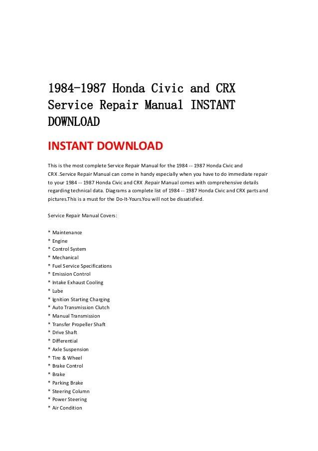1984 1987 honda civic and crx service repair manual instant download rh slideshare net honda cmx250 rebel 250 service repair manual.pdf honda service repair manual download