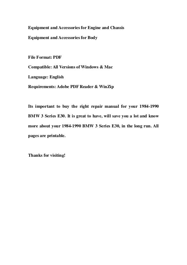 1984 1990 bmw 3 series e30 service repair manual download (1984 1985 ...