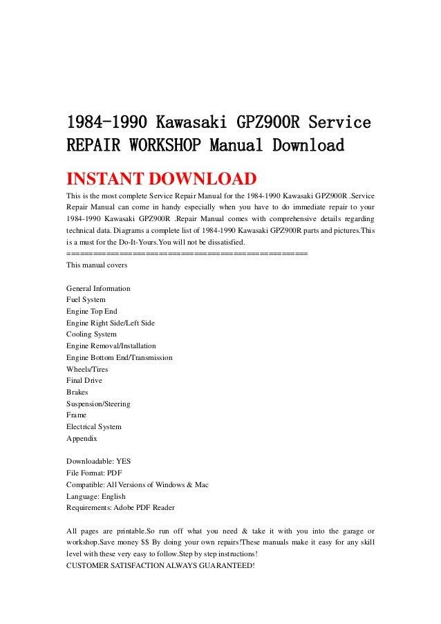 1984 1990 kawasaki gpz900 r service repair workshop manual download kawasaki gpz 900 r manual kawasaki gpz 900 service manual download