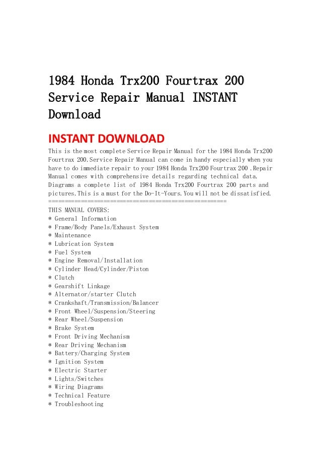 1984 honda trx200 fourtrax 200 service repair manual instant download rh slideshare net Honda FourTrax 350 1996 Honda FourTrax 200