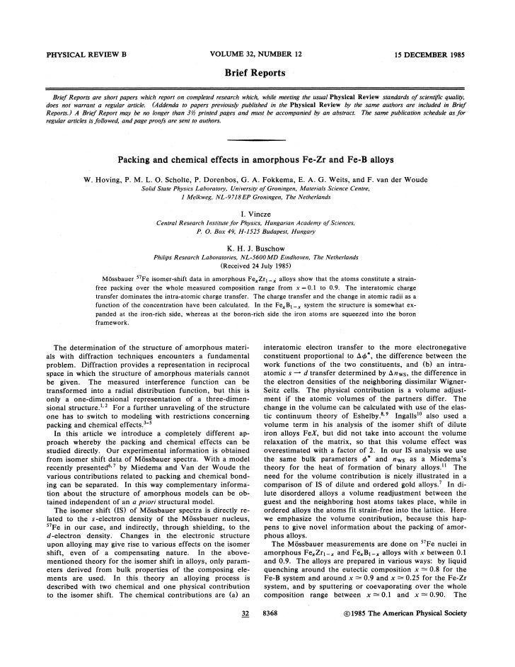 1985 packing and chemical effects in amorphous fe zr and fe-b alloys