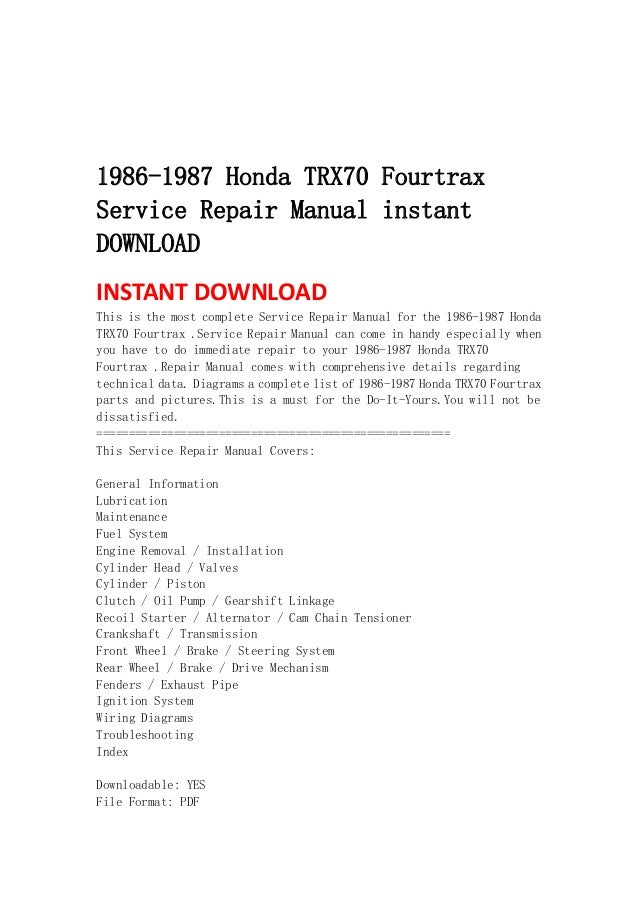 honda trx fourtrax service repair manual instant 1986 1987 honda trx70 fourtraxservice repair manual instant instant this is the most complete service