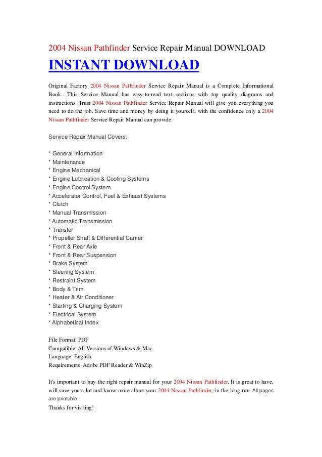 nissan pathfinder repair manual download