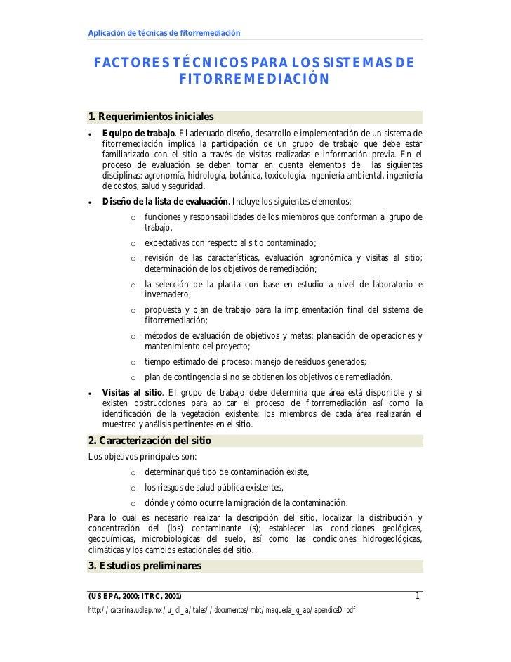 Aplicación de técnicas de fitorremediación       FACTORES TÉCNICOS PARA LOS SISTEMAS DE               FITORREMEDIACIÓN  1....