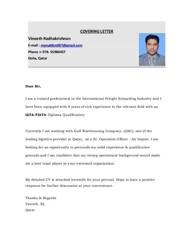 COVERING LETTER Vineeth Radhakrishnan E Mail : Manuklbm007@gmail.com Phone  :+ ...