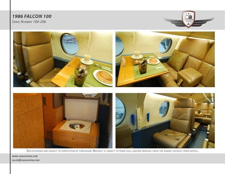 1986 Falcon 100 (N46MK sn 206) Detailed Specs