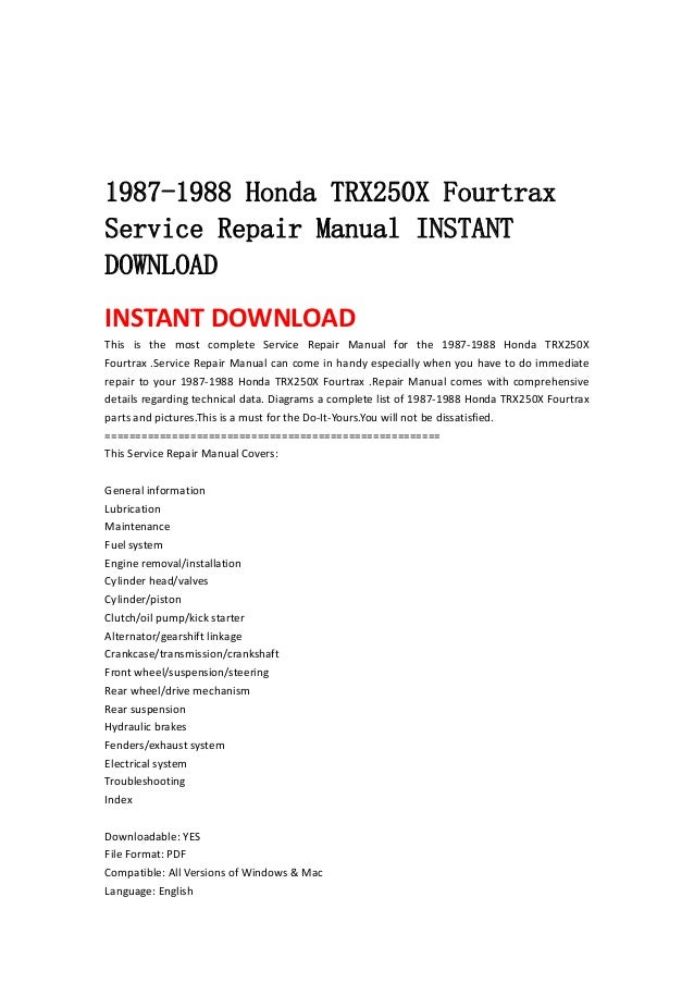 1987 1988 honda trx250x fourtrax atv service repair manual instant download