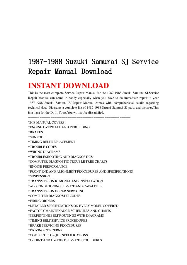 1987 1988 suzuki samurai sj service repair manual download rh slideshare net suzuki samurai service manual pdf samurai factory service manual