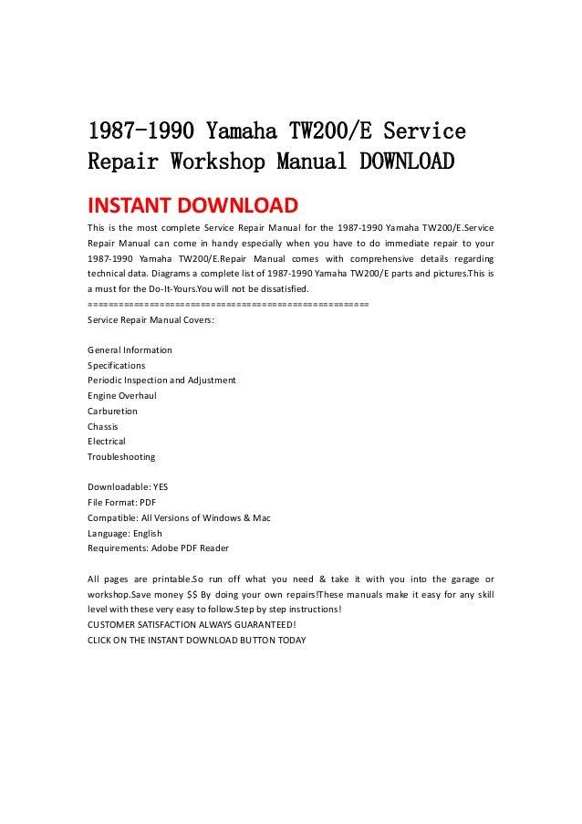 1987 1990 Yamaha Tw200 E Service Repair Workshop Manual Download