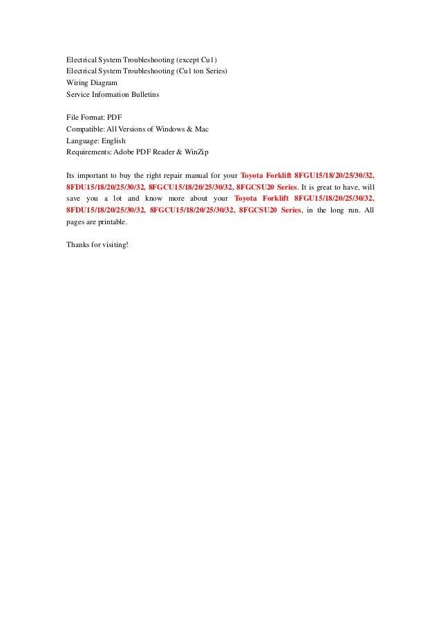 toyota forklift 8fgu15/18/20/25/30/32, 8fdu15/18/20/25/30/32,  8fgcu15/18/20/25/30/32, 8fgcsu20 series service repair workshop manual  download