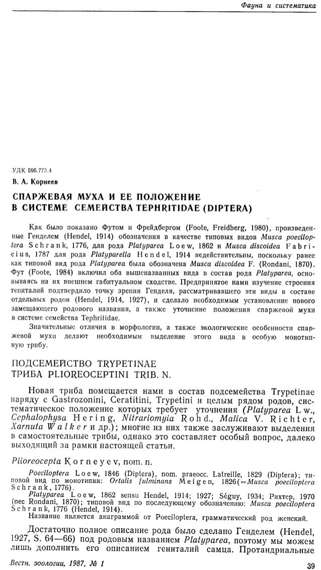 Korneyev V. A. 1987. Asparagus fly and its position in the system of the family Tephritidae (Diptera).