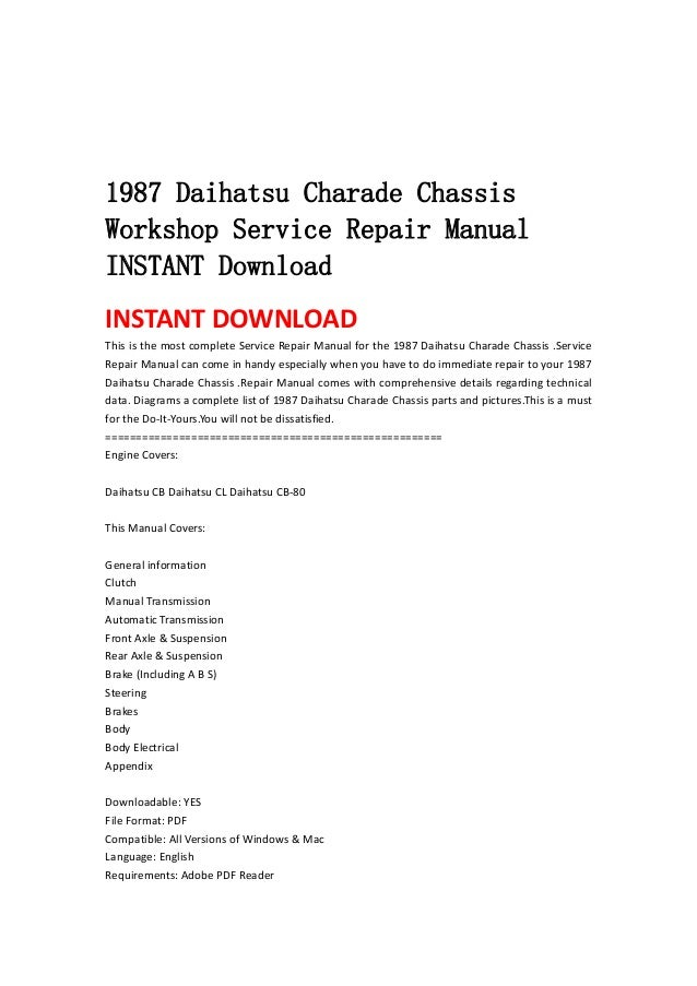 1987 daihatsu charade chassis workshop service repair manual instant \u2026 Daihatsu Bego 1987 daihatsu charade chassisworkshop service repair manualinstant downloadinstant download this is the most complete