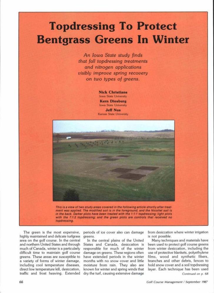 Topdressing To Protect           Bentgrass Greens In Winter                                            An Iowa State study...