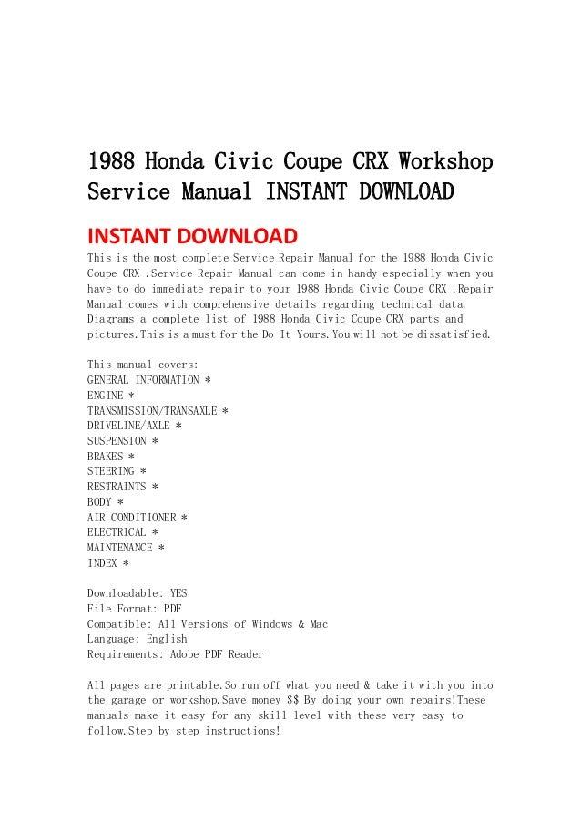 honda civic service manual download