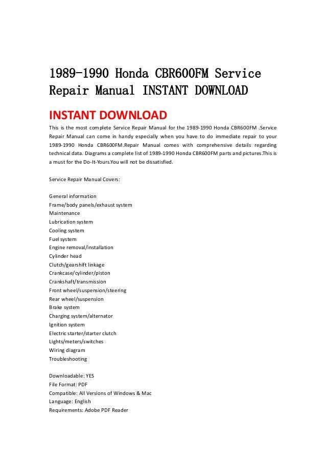 1989 1990 honda cbr600 fm service repair manual instant. Black Bedroom Furniture Sets. Home Design Ideas